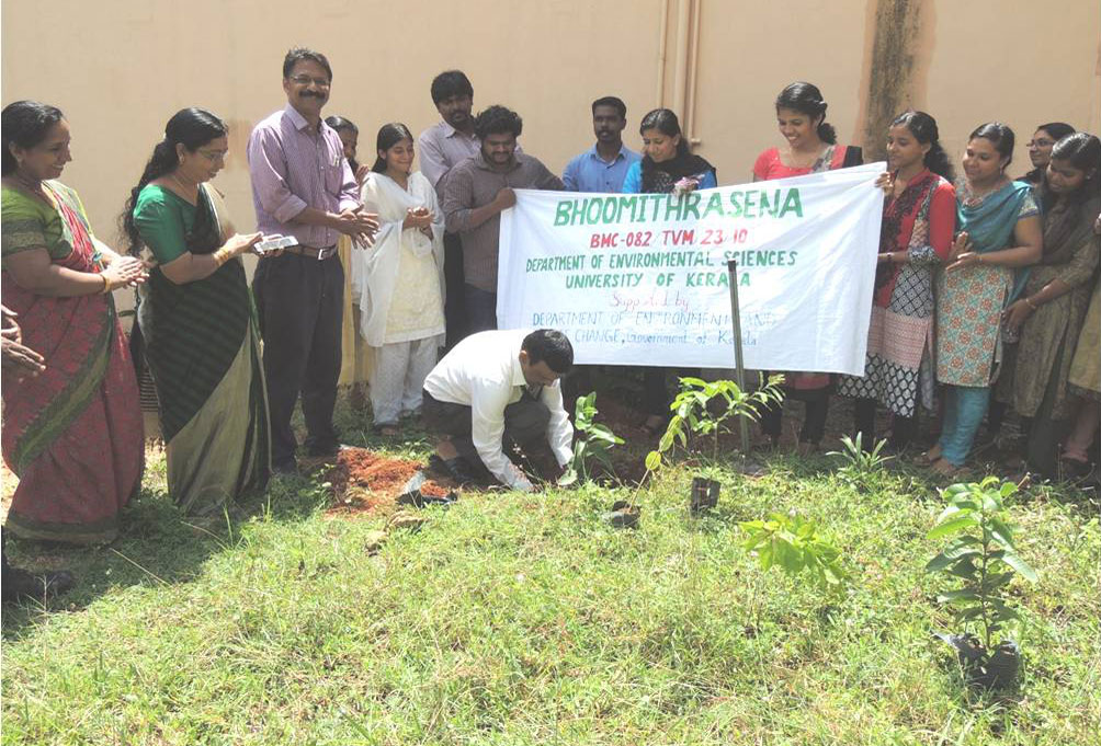 Sri. R. Dilip, Joint Registrar, Univ. of Kerala, Kariavattom inaugurating the planting of sapling organized by the Bhoomitrasena of the Dept. of Environmental Sciences, Univ. of Kerala.